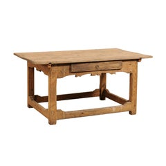 Early 19th Century Swedish Carved Wood Desk Table with Drawer