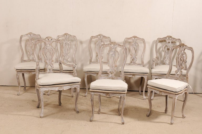 Carved Set Of Eight Lovely Italian Painted Wood Dining Chairs With Custom Seat Cushions For