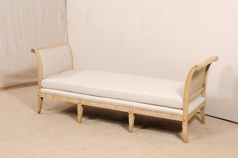 20th Century Vintage French Carved Wood and Upholstered Sofa Bench For Sale
