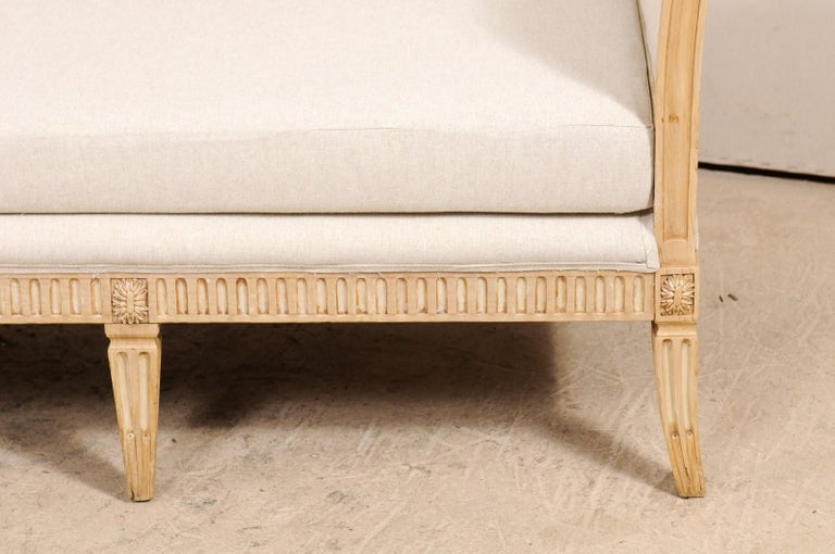 Vintage French Carved Wood and Upholstered Sofa Bench For Sale 1