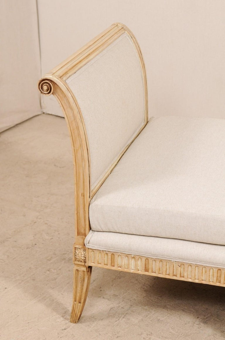 Linen Vintage French Carved Wood and Upholstered Sofa Bench For Sale