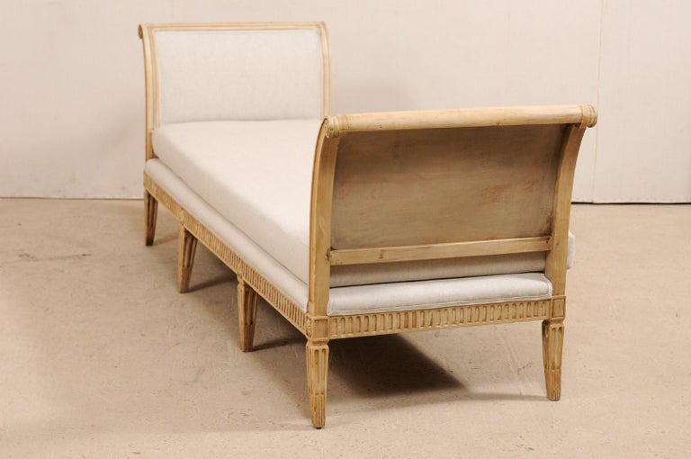 Vintage French Carved Wood and Upholstered Sofa Bench For Sale 4