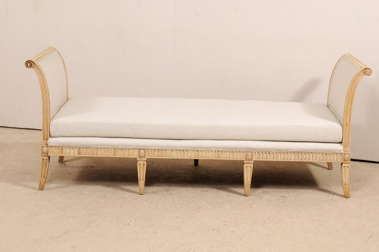 Vintage French Carved Wood and Upholstered Sofa Bench For Sale 6