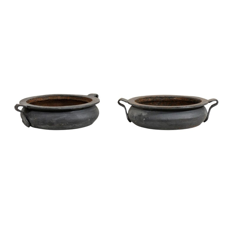 Pair of European Early 20th Century Cast Iron Vessels with Forged Handles