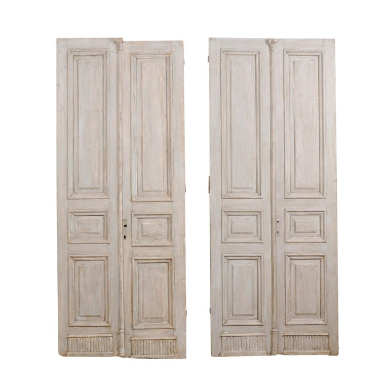 Two Pairs of 19th Century French Painted Wood Doors with Nice Carved Panels