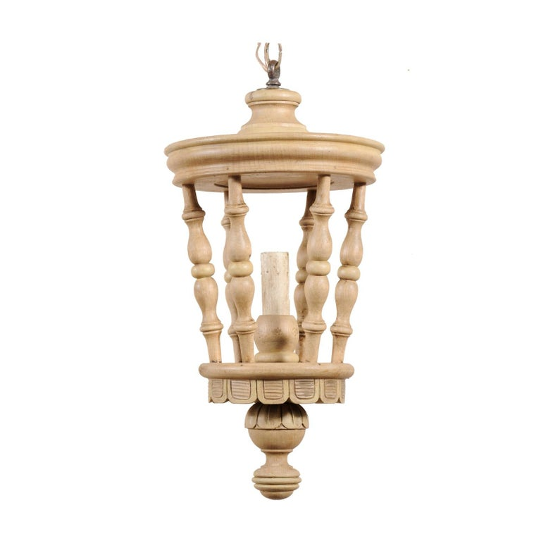 French Single Light Lantern Style Wooden Light Fixture from the Mid-20th Century