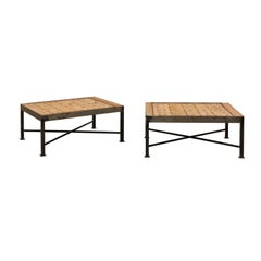 Great Pair of Custom Coffee Tables with Spanish Door Tops and Iron Bases