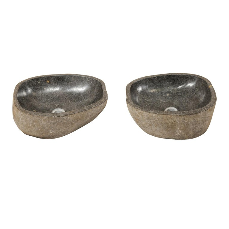 Pair of Carved and Polished Grey River Rock Sink Basins