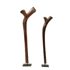 Pair of Kiakavo Wooden Clubs from the Fiji Islands on Custom Black Stands