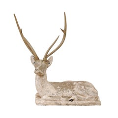 French Early 20th Century Cast-Stone Deer Sculpture