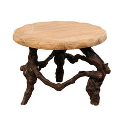 French Early 20th Century Small Wood Coffee Table with Grapevine Base
