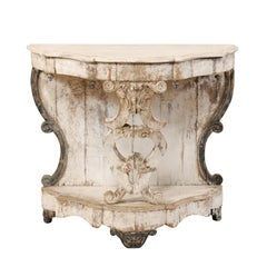 Italian 19th Century Carved and Painted Wood Rococo Style Demilune Console Table
