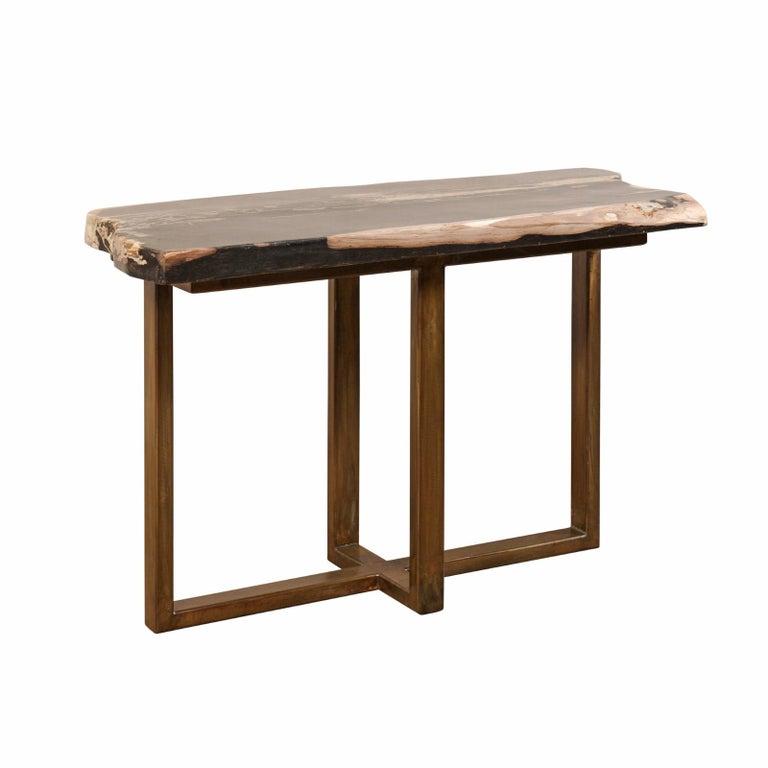 Polished Petrified Wood Slab Console Table with Nice Modern Metal Base