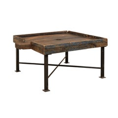 19th Century Spanish Wood Olive Trough Coffee Table with Modern Metal Base