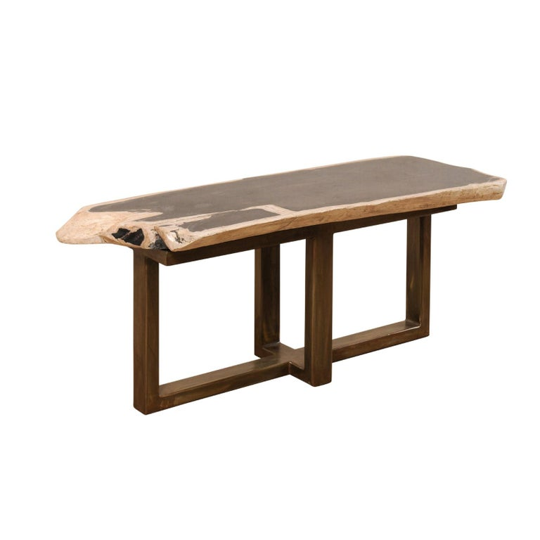 Petrified Wood Coffee Table or Bench with Sleek Modern Metal Base