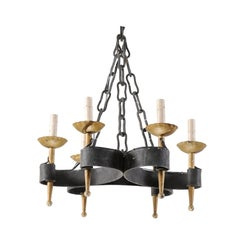 French Mid-20th Century Six-Light Black and Gold Hand-Forged Iron Chandelier
