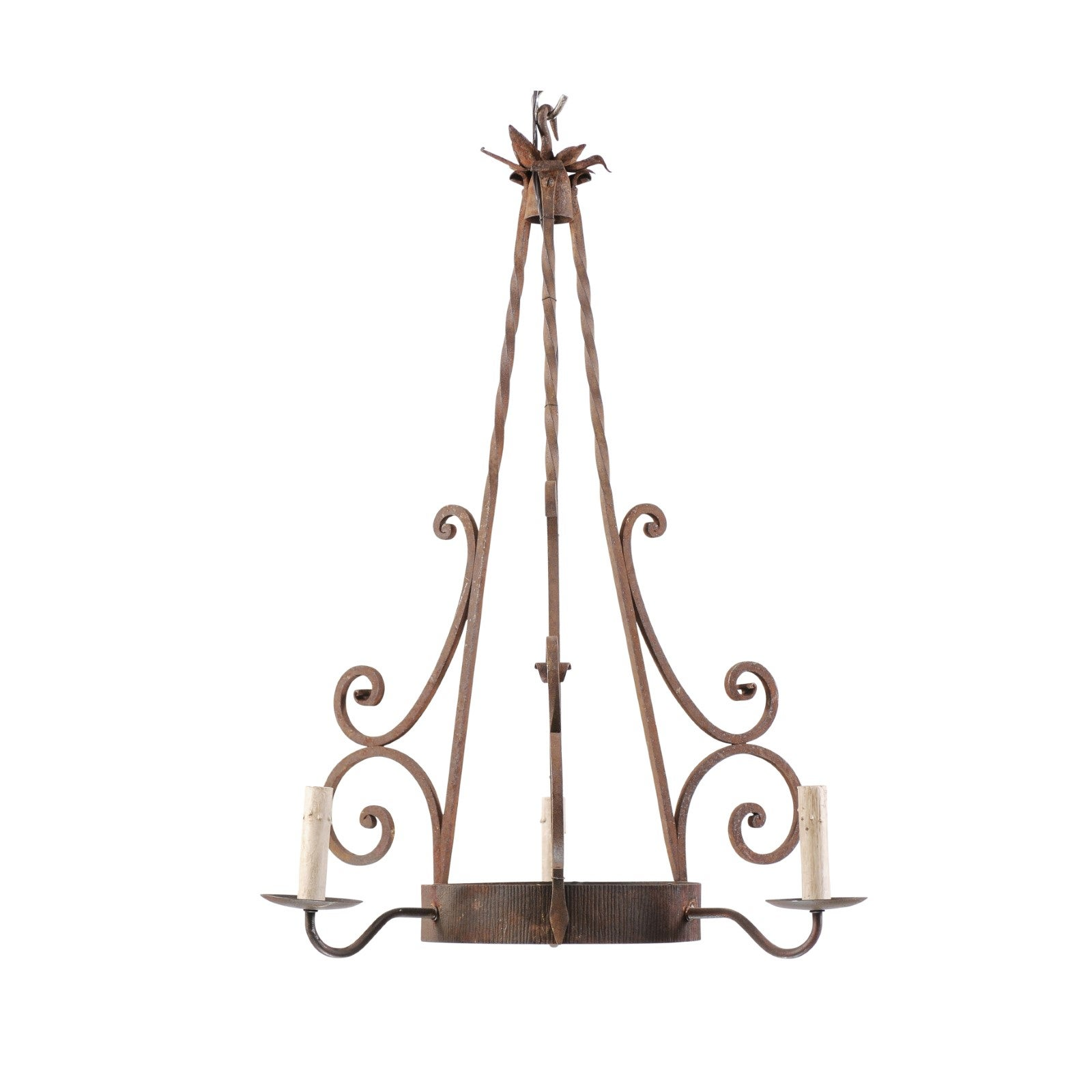 French Midcentury Three-Light Iron Chandelier with Scrolled Accents