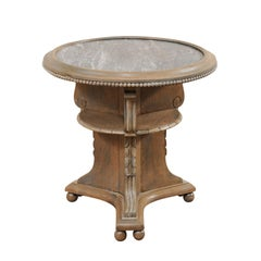 Swedish Early 20th Century Round Painted Wood Occasional Table with Marble Top