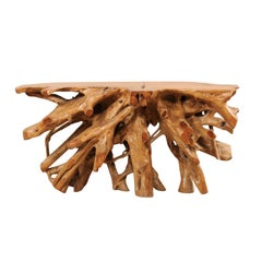 Tropical Hardwood Teak Root Console Table with Intertwining Wood Roots