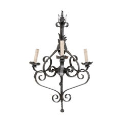 French Mid-20th Century Three-Light Forged Iron Chandelier with S-Scrolls