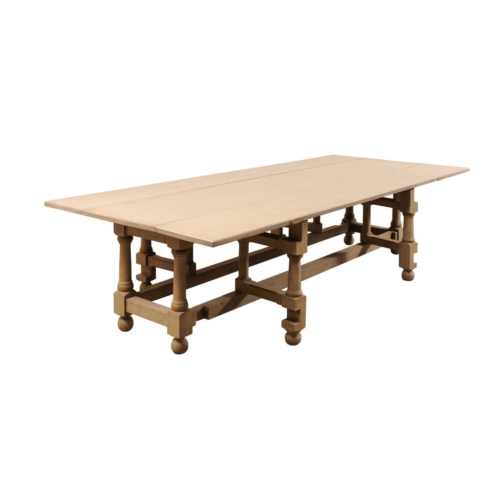 Large painted poplar wood gate leg dining table for sale at 1stdibs