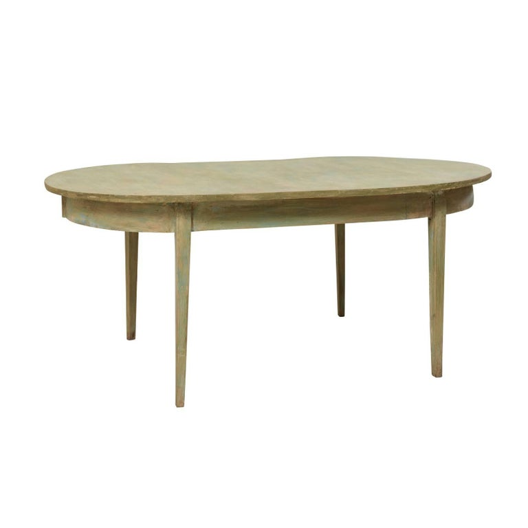Swedish Painted Wood Oval Table in Soft Sea Green Finish