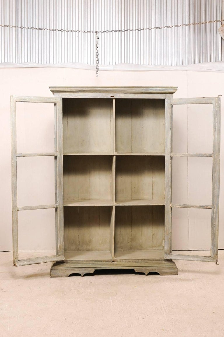 Tall Display Cabinet Made of 19th Century French Windows and Reclaimed Wood For Sale 1