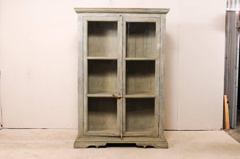 Carved Tall Display Cabinet Made of 19th Century French Windows and Reclaimed Wood For Sale