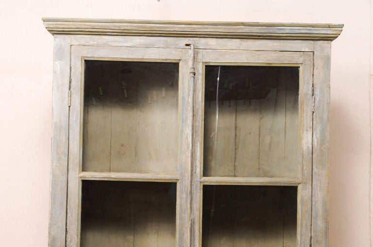 Metal Tall Display Cabinet Made of 19th Century French Windows and Reclaimed Wood For Sale