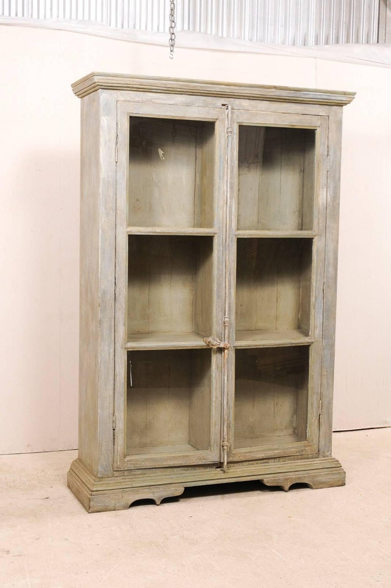 Tall Display Cabinet Made of 19th Century French Windows and Reclaimed Wood In Good Condition For Sale In Atlanta, GA