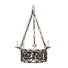 French 6-Light Ornate Iron Ring Chandelier in C-Scroll Motif & Bow Linked Chains