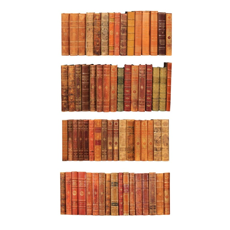 Collection of 65 Antique Swedish Leather-Bound Books from the 1920s