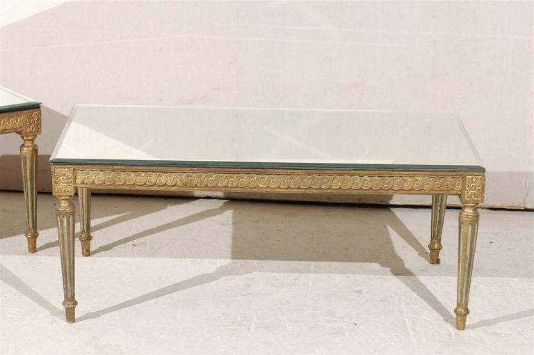 Gilt French Louis XVI Style Gilded And Painted Coffee Table With Mirrored Top For Sale