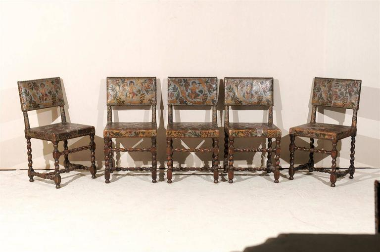 Set of ten swedish 18th century baroque style leather for Baroque style dining chairs