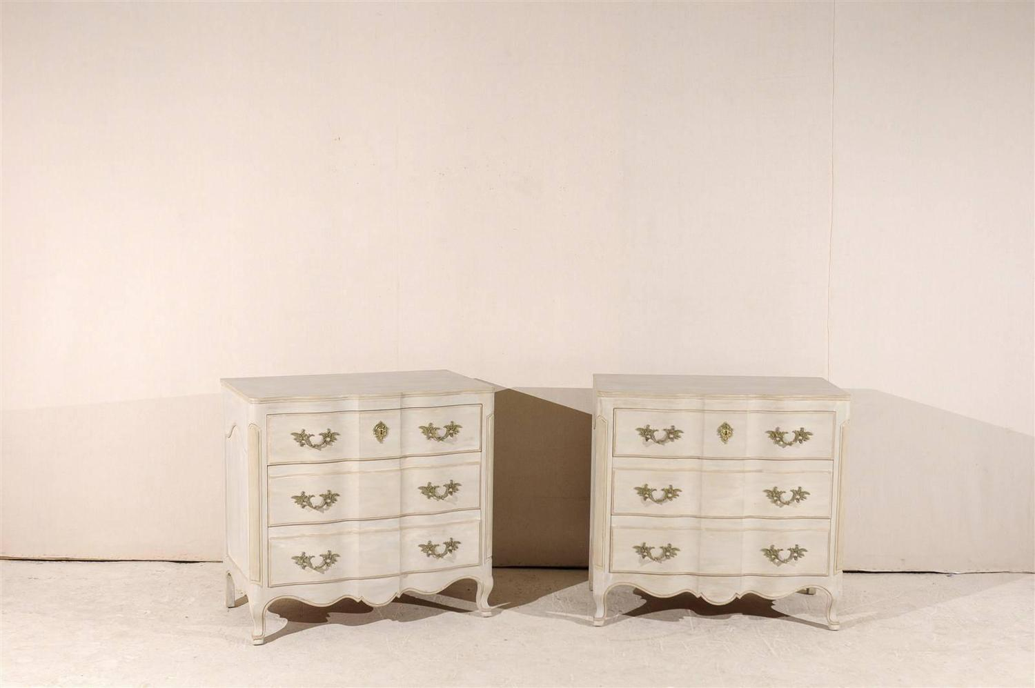 Pair Of Three Drawer Painted Wood Chests At 1stdibs. Full resolution‎  snapshot, nominally Width 1500 Height 997 pixels, snapshot with #412C1C.