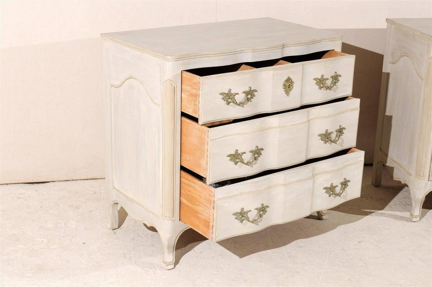 Marvelous photograph of Pair of Three Drawer Painted Wood Chests at 1stdibs with #9C5F30 color and 1500x997 pixels