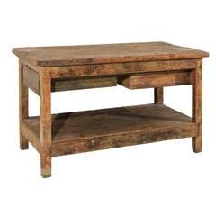 19th Century Spanish Work Table with Two Drawers