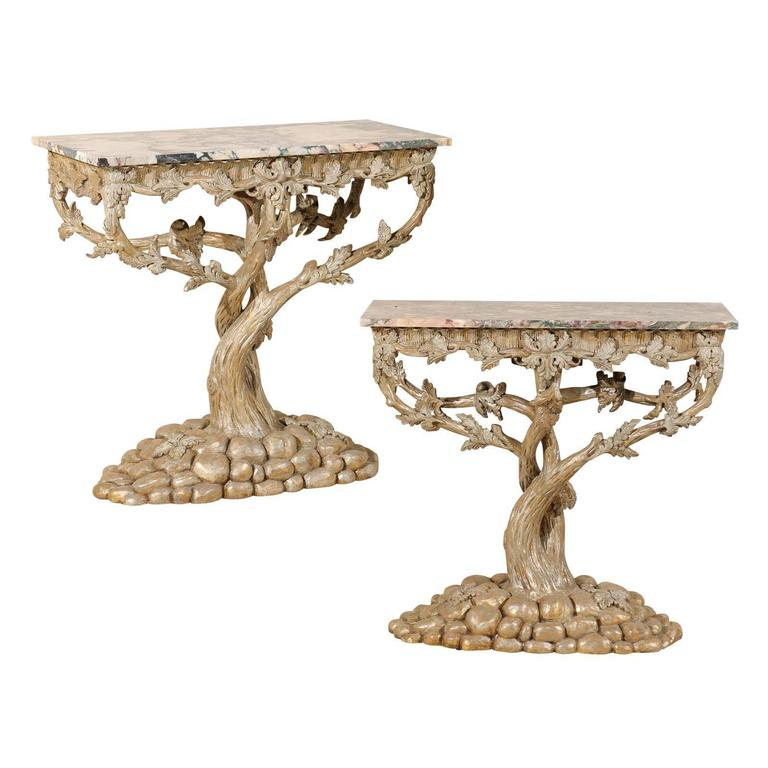 Charming Pair Of Vintage Silver And Gold Painted Tree Shaped Console Tables For Sale