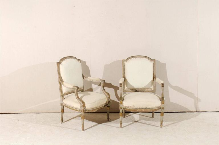 Carved Pair of 19th Century French Louis XVI Style Fauteuils or Armchairs For Sale