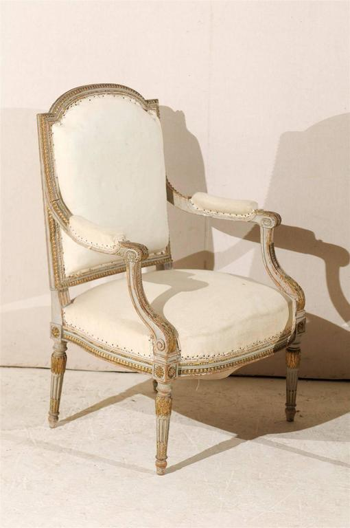 Pair of 19th Century French Louis XVI Style Fauteuils or Armchairs In Good Condition For Sale In Atlanta, GA