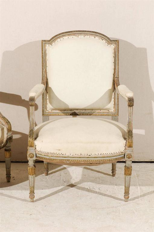 Wood Pair of 19th Century French Louis XVI Style Fauteuils or Armchairs For Sale
