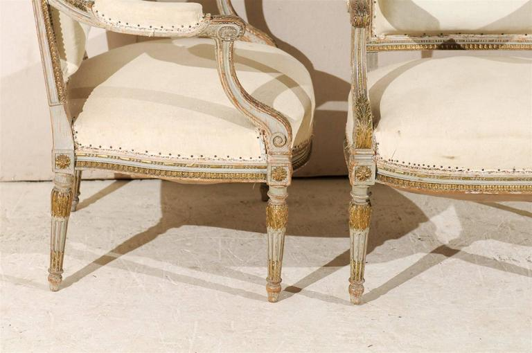 Pair of 19th Century French Louis XVI Style Fauteuils or Armchairs For Sale 1