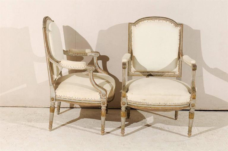Pair of 19th Century French Louis XVI Style Fauteuils or Armchairs For Sale 2