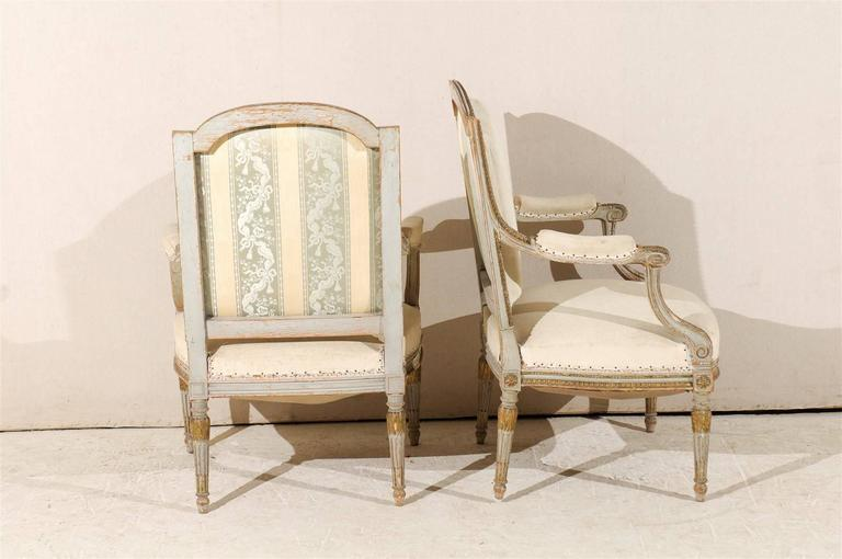 Pair of 19th Century French Louis XVI Style Fauteuils or Armchairs For Sale 3