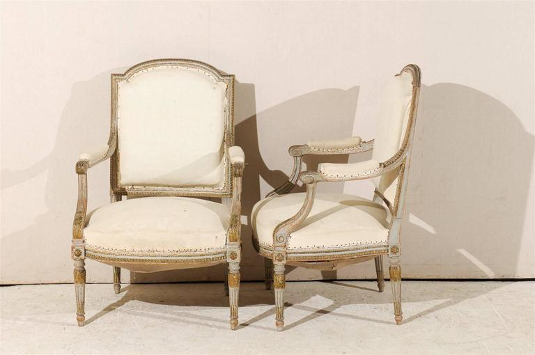 Pair of 19th Century French Louis XVI Style Fauteuils or Armchairs For Sale 5