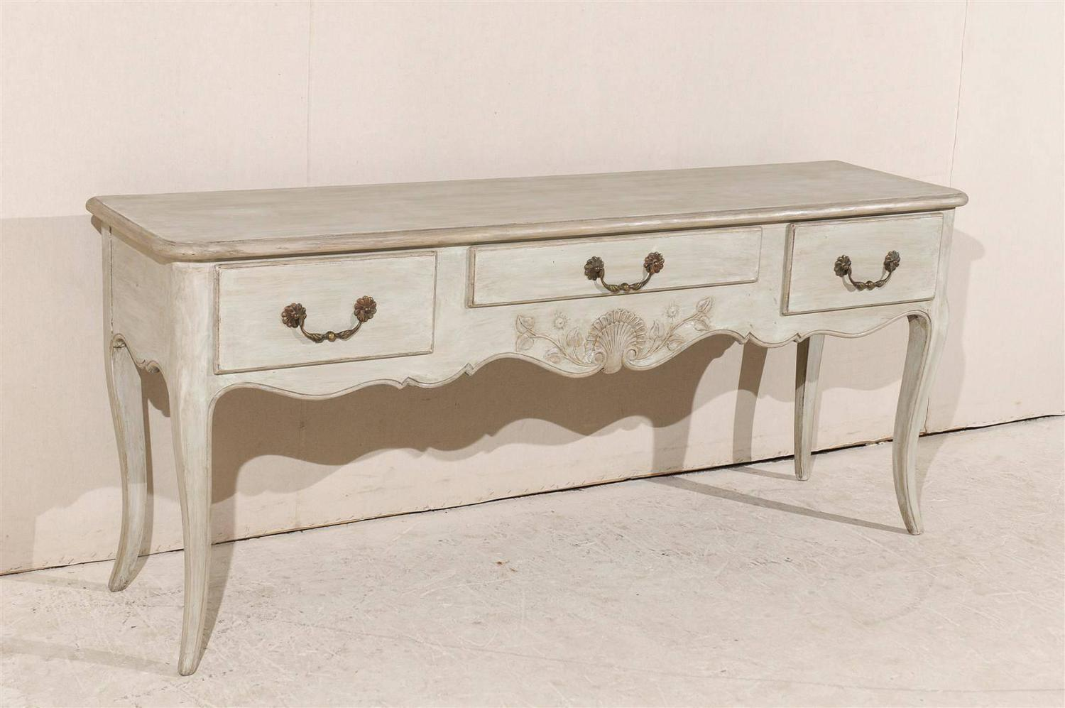 Marvelous photograph of French Painted Three Drawer Wooden Console Table For Sale at 1stdibs with #7F624C color and 1500x997 pixels