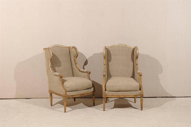 Painted Pair of French 19th Century Louis XVI Style Wingback Chairs For Sale