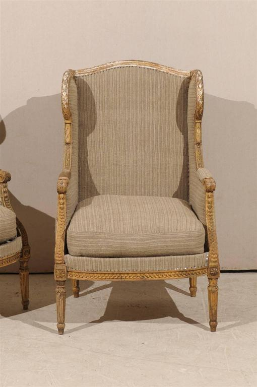 Wood Pair of French 19th Century Louis XVI Style Wingback Chairs For Sale