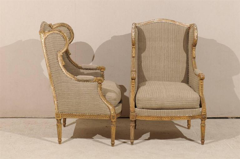 Pair of French 19th Century Louis XVI Style Wingback Chairs For Sale 1