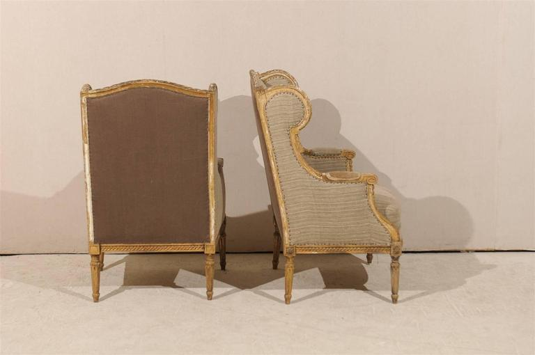 Pair of French 19th Century Louis XVI Style Wingback Chairs For Sale 2